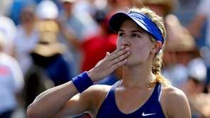Eugenie Bouchard of Canada reacts after a point