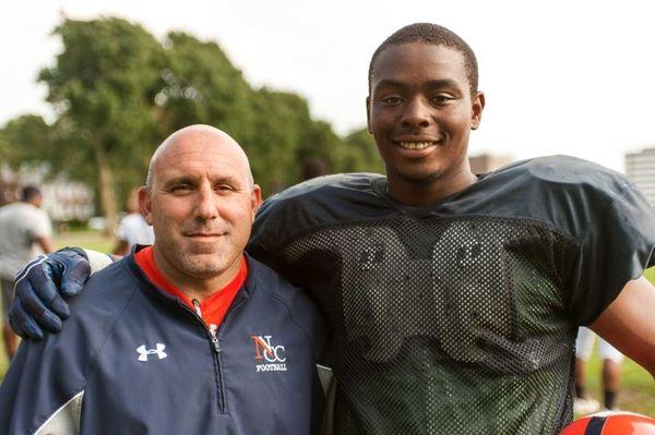 Nassau CC head football coach Joe Osovet, left,