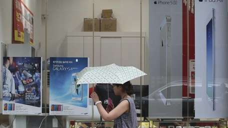 An electronics store in Seoul, South Korea, on