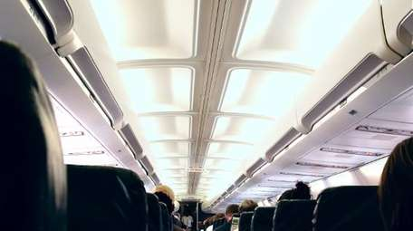 Inside of a plane during flight.
