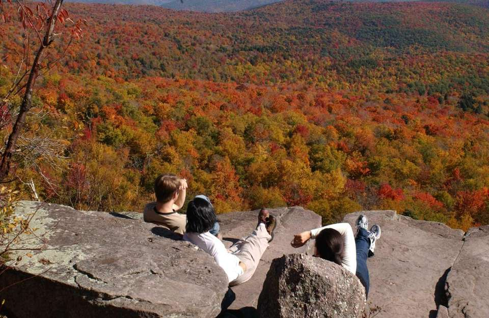 Hikers rest at Giant Ledge in Ulster County's