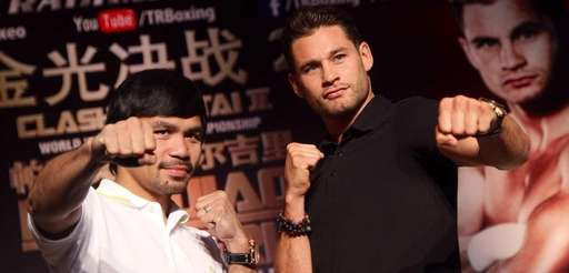 Manny Pacquiao, left, of the Philippines and Chris