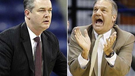 Stony Brook coach Steve Pikiell, left, and Hofstra