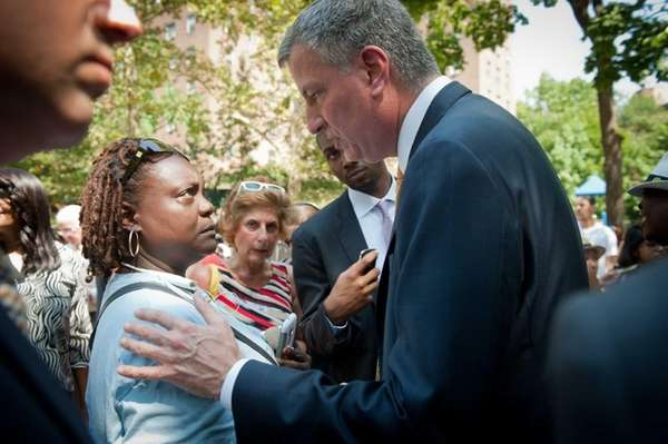Mayor Bill de Blasio touted the removal of