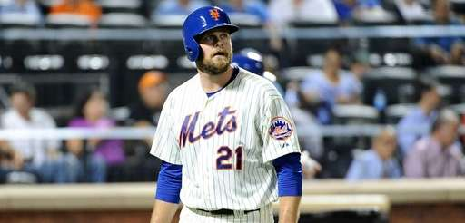 Lucas Duda of the Mets walks back to