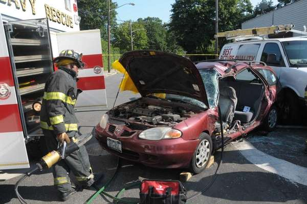 Emergency personnel at the scene of a multivehicle