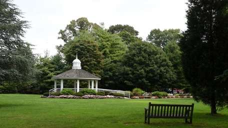 The Garden City Village Green with gazebo and