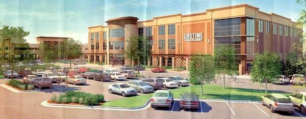 A rendering of the three-story fitness complex planned