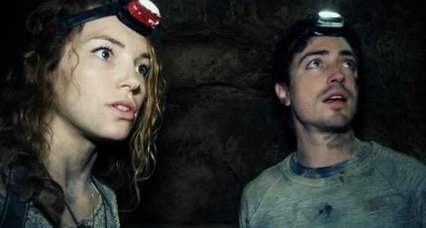 Perdita Weeks and Ben Feldman in a scene