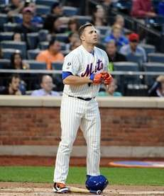 David Wright of the Mets stands at home