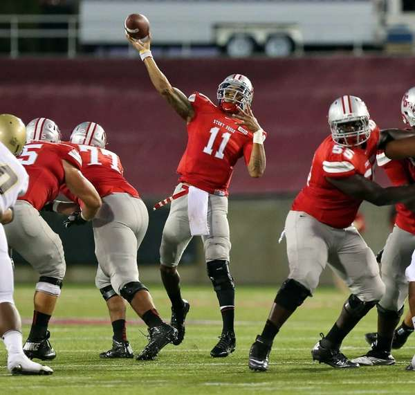 Stony Brook quarterback John Kinder unloads a 61-yard