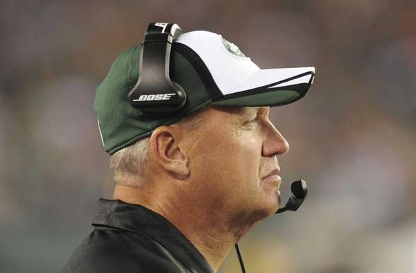 Jets head coach Rex Ryan watches his team