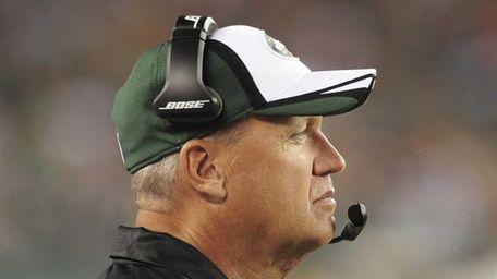 Jets head coach Rex Ryan watches his team