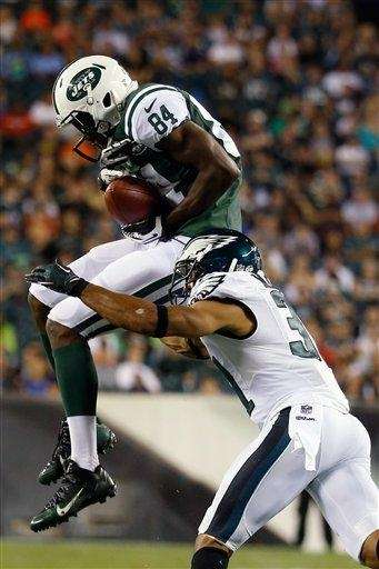 The Jets' Stephen Hill (84) cannot hang onto