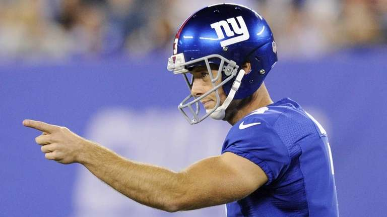 Giants kicker Josh Brown reacts after kicking the