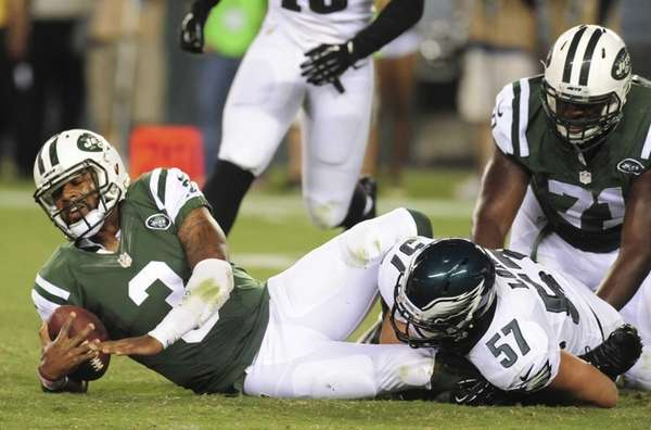 Quarterback Tajh Boyd of the Jets is sacked