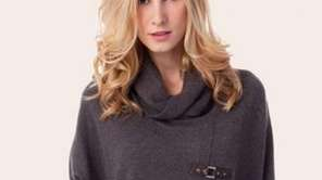 Pictured here is a cashmere cowl pullover with