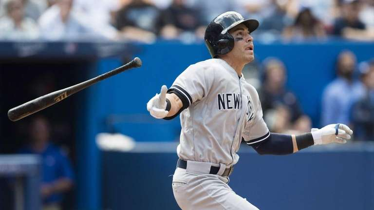 The Yankees' Jacoby Ellsbury hits a pinch-hit double