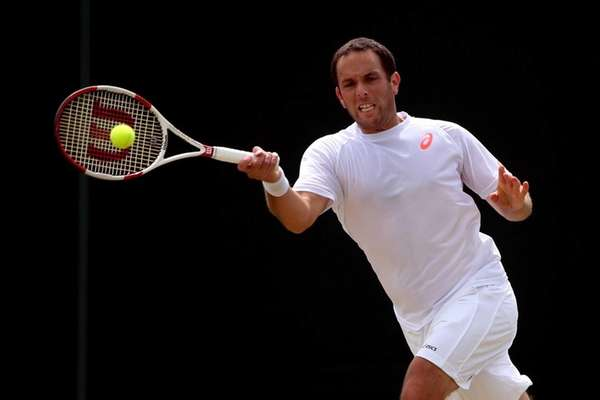 Scott Lipsky hits a forehand during his men's