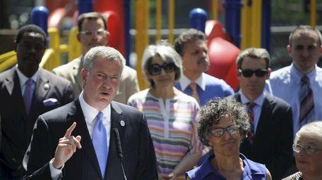 New York City Mayor Bill de Blasio holds