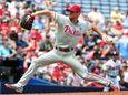 Cole Hamels #35 of the Philadelphia Phillies delivers