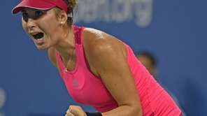 Belinda Bencic celebrates at match point against Jelena