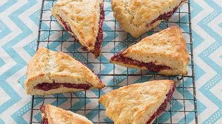 The jam-filled scones recipe can be found on