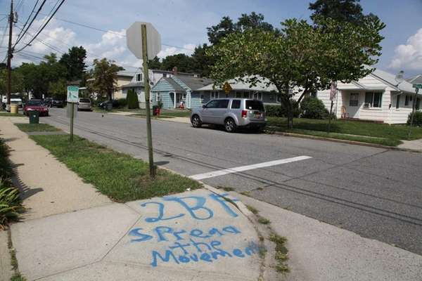 Graffiti is seen on Cambridge Avenue on Tuesday,