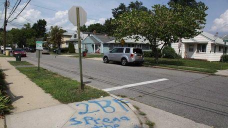 Graffiti is seen on Cambridge Avenue on Tuesday,