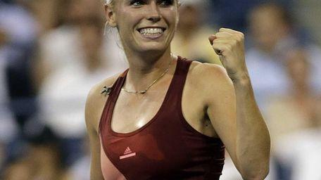 Caroline Wozniacki celebrates after her straight sets victory