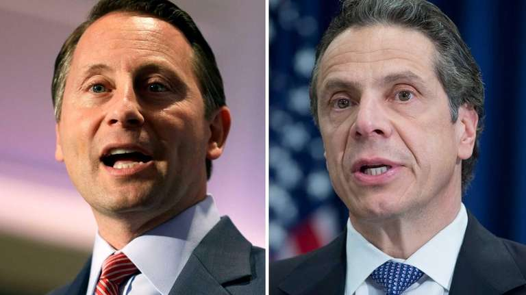 Republican challenger Rob Astorino, left, would promote drilling