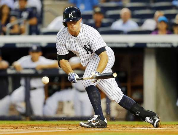 Brett Gardner of the Yankees connects on a