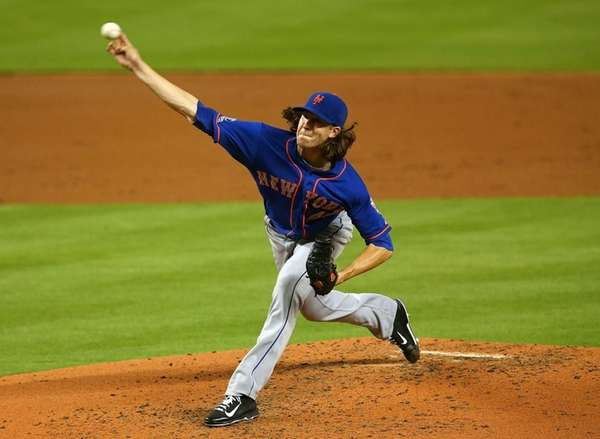 Jacob deGrom of the Mets pitches during a