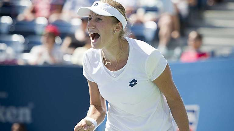Russia's Ekaterina Makarova reacts after winning a game