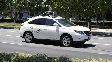 A Google self-driving car goes takes a test