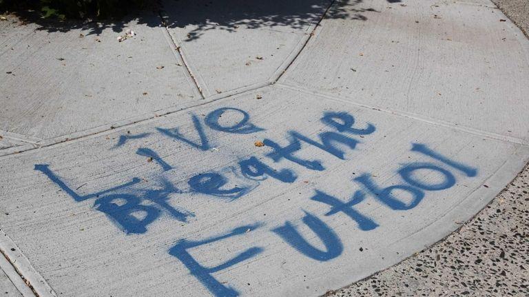 Graffiti is seen on Cambridge Avenue in Manorhaven