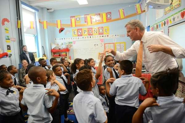 New York Mayor Bill de Blasio visits a