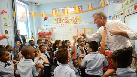 New York Mayor Bill de Blasio visits a