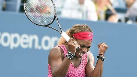 Serena Williams rejoices after defeating Ekaterina Makarova in