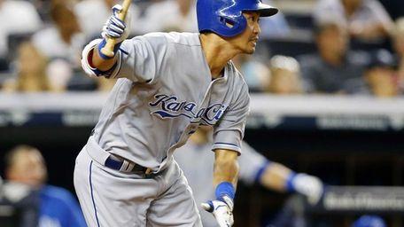 Norichika Aoki of the Kansas City Royals follows