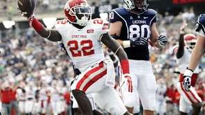 Stony Brook defensive back Naim Cheeseboro celebrates after