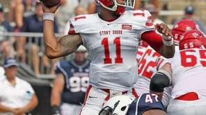 Stony Brook QB John Kinder throws under pressure