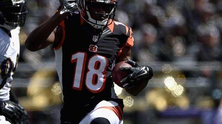 Cincinnati Bengals wide receiver A.J. Green runs after