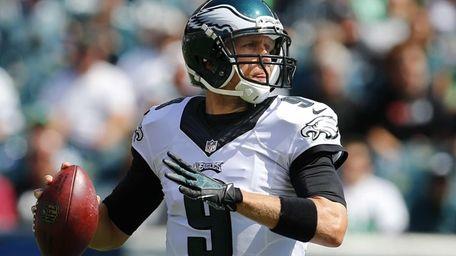 Nick Foles #9 of the Philadelphia Eagles looks
