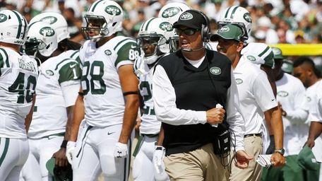 Jets head coach Rex Ryan reacts after a