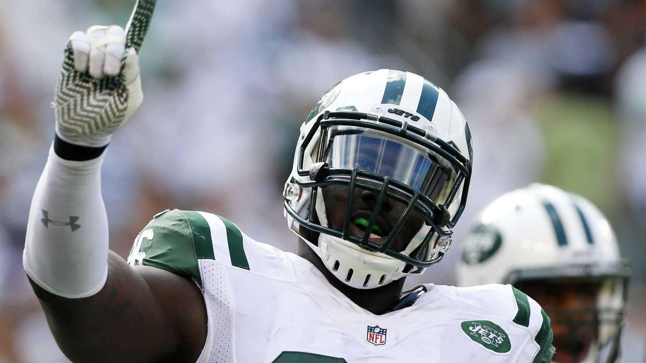 Muhammad Wilkerson #96 of the Jets reacts after