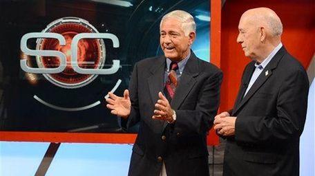 Original SportsCenter host George Grande, left, and ESPN