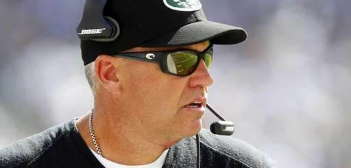 Jets head coach Rex Ryan looks on against