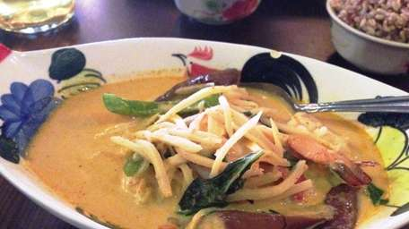 A red curry with shrimp at Ra-Kang, serving