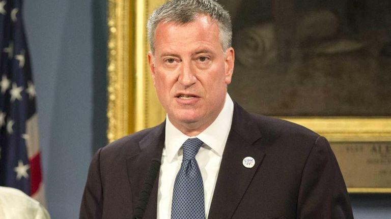 Mayor Bill de Blasio speaks during a press